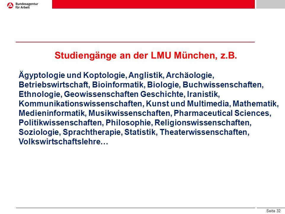 Studiengänge an der LMU München, z.B.