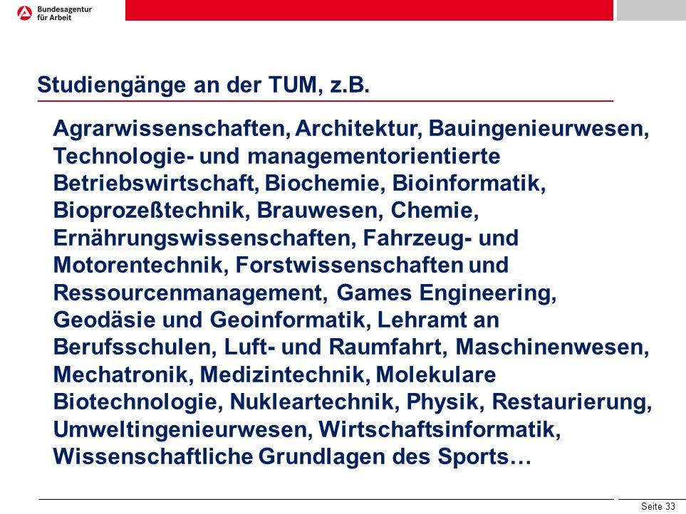 Studiengänge an der TUM, z.B.