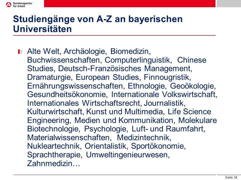 Studiengänge von A-Z an bayerischen Universitäten