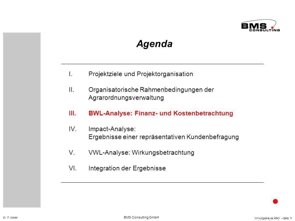 Agenda Projektziele und Projektorganisation