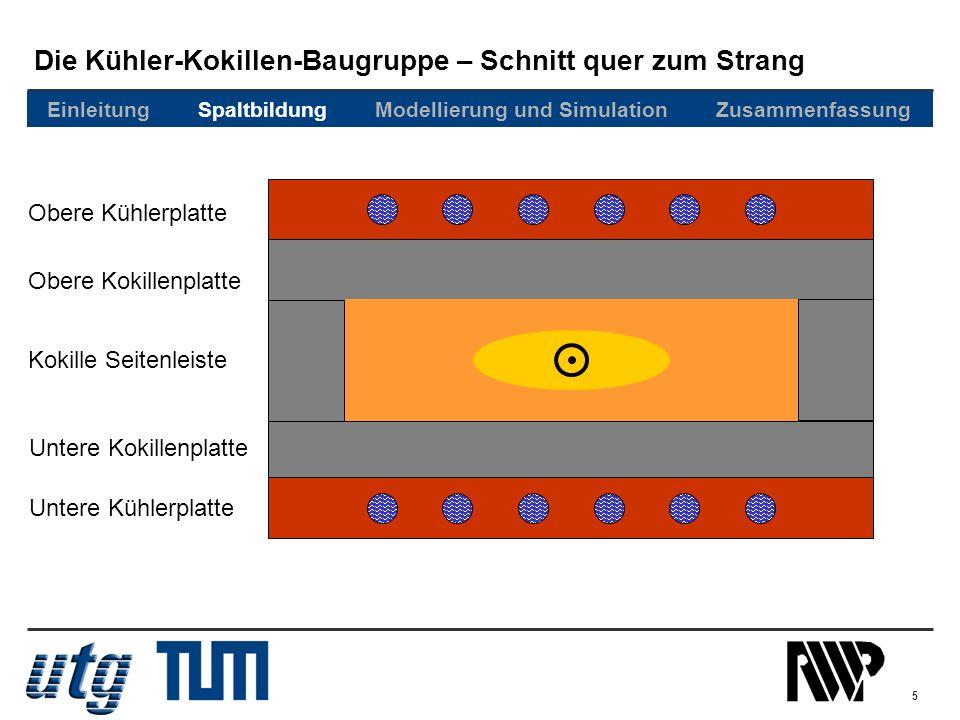 Die Kühler-Kokillen-Baugruppe – Schnitt quer zum Strang