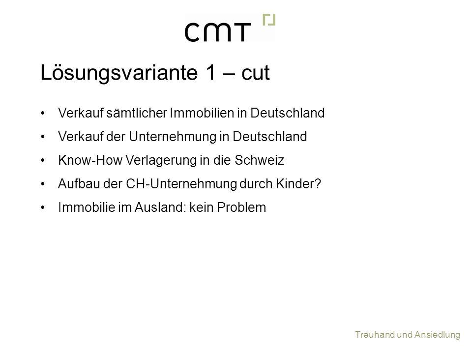 Lösungsvariante 1 – cut Verkauf sämtlicher Immobilien in Deutschland