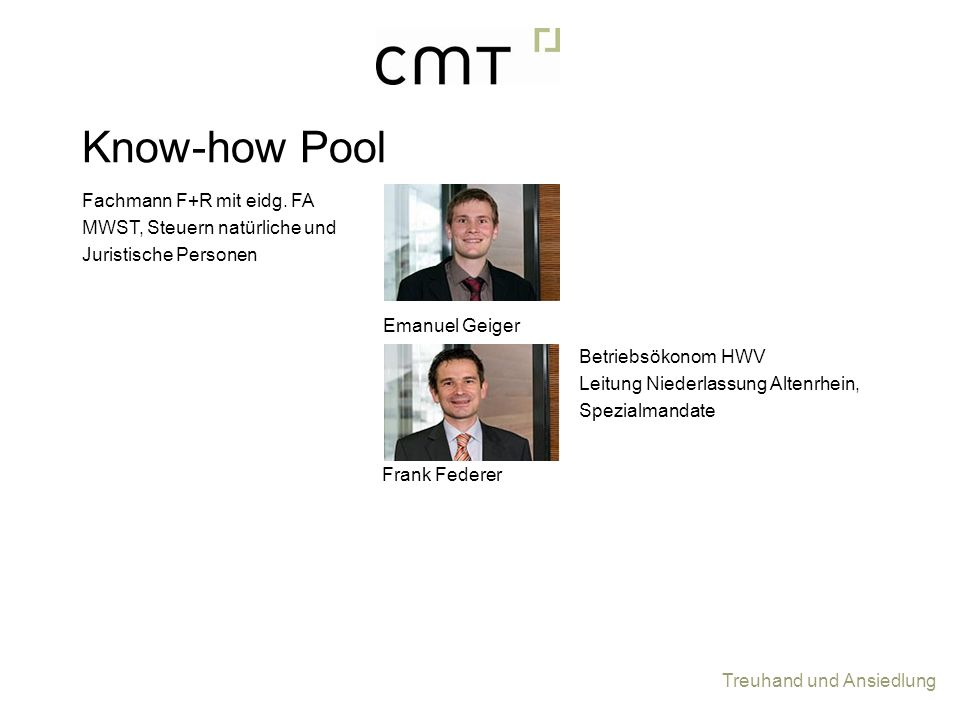 Know-how Pool Fachmann F+R mit eidg. FA MWST, Steuern natürliche und