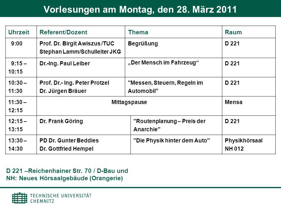 Vorlesungen am Montag, den 28. März 2011