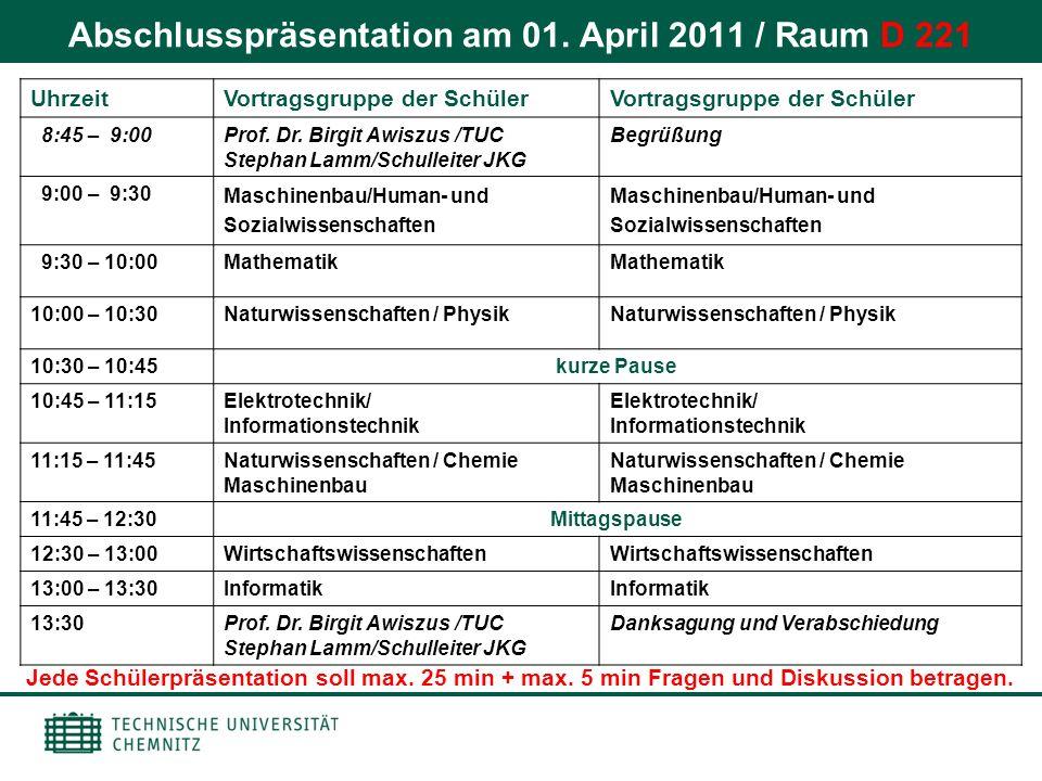 Abschlusspräsentation am 01. April 2011 / Raum D 221