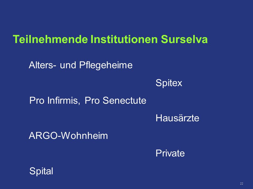 Teilnehmende Institutionen Surselva