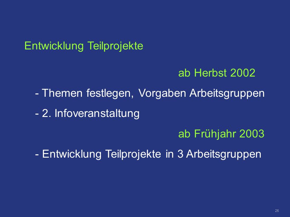 Entwicklung Teilprojekte ab Herbst 2002