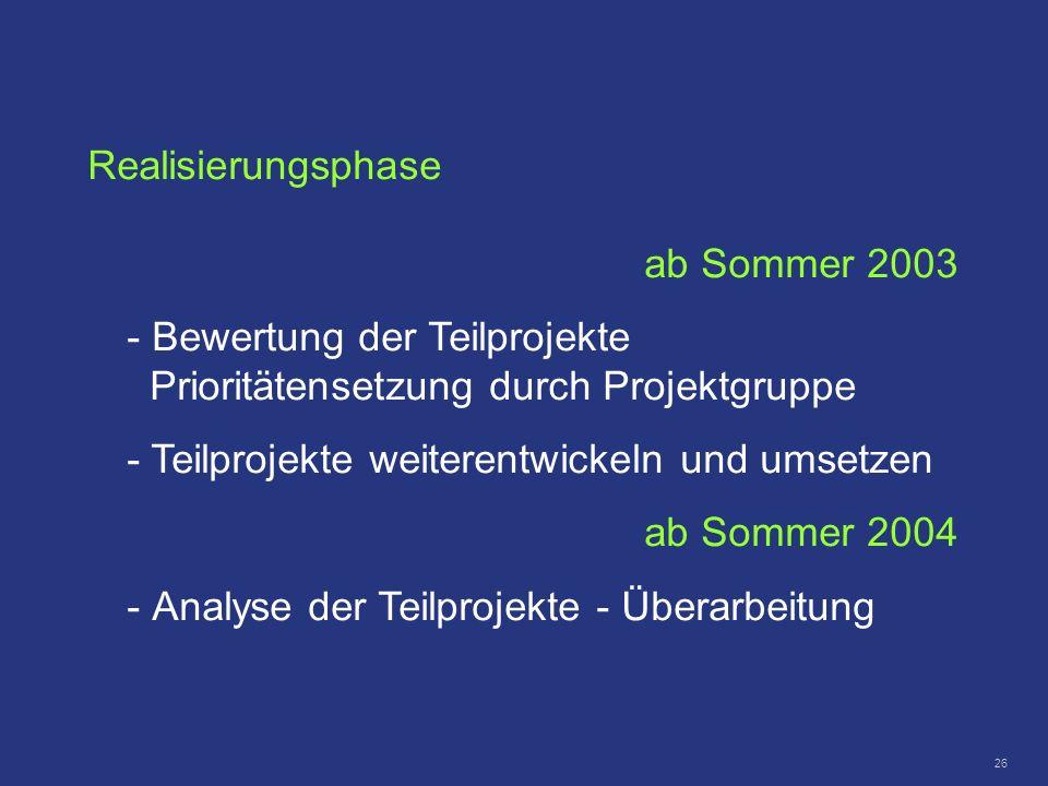Realisierungsphase ab Sommer 2003