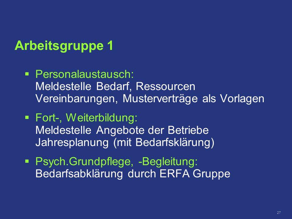 Arbeitsgruppe 1 Personalaustausch: Meldestelle Bedarf, Ressourcen Vereinbarungen, Musterverträge als Vorlagen.
