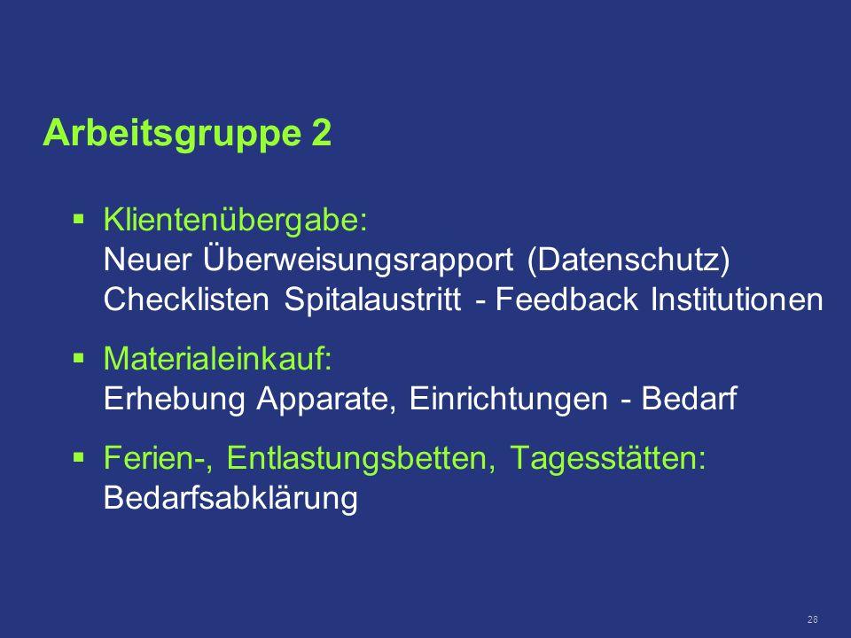 Arbeitsgruppe 2 Klientenübergabe: Neuer Überweisungsrapport (Datenschutz) Checklisten Spitalaustritt - Feedback Institutionen.