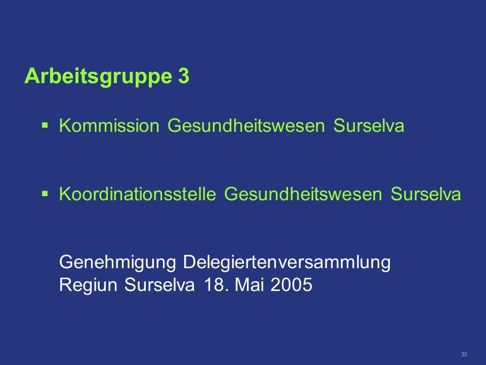 Arbeitsgruppe 3 Kommission Gesundheitswesen Surselva