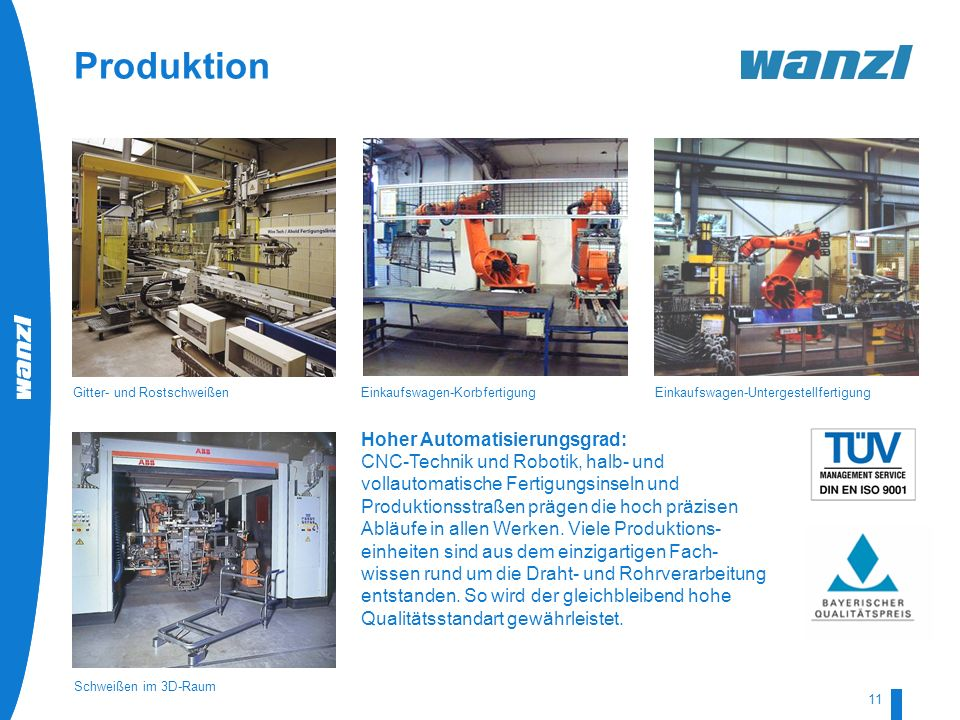 Produktion Hoher Automatisierungsgrad: