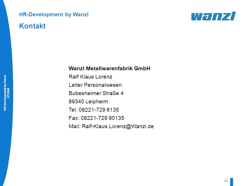Kontakt HR-Development by Wanzl Wanzl Metallwarenfabrik GmbH