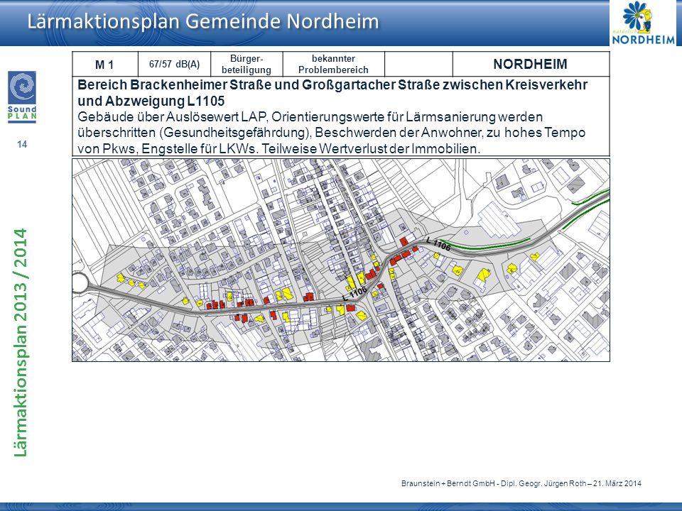 M 1 67/57 dB(A) Bürger-beteiligung. bekannter. Problembereich. NORDHEIM.
