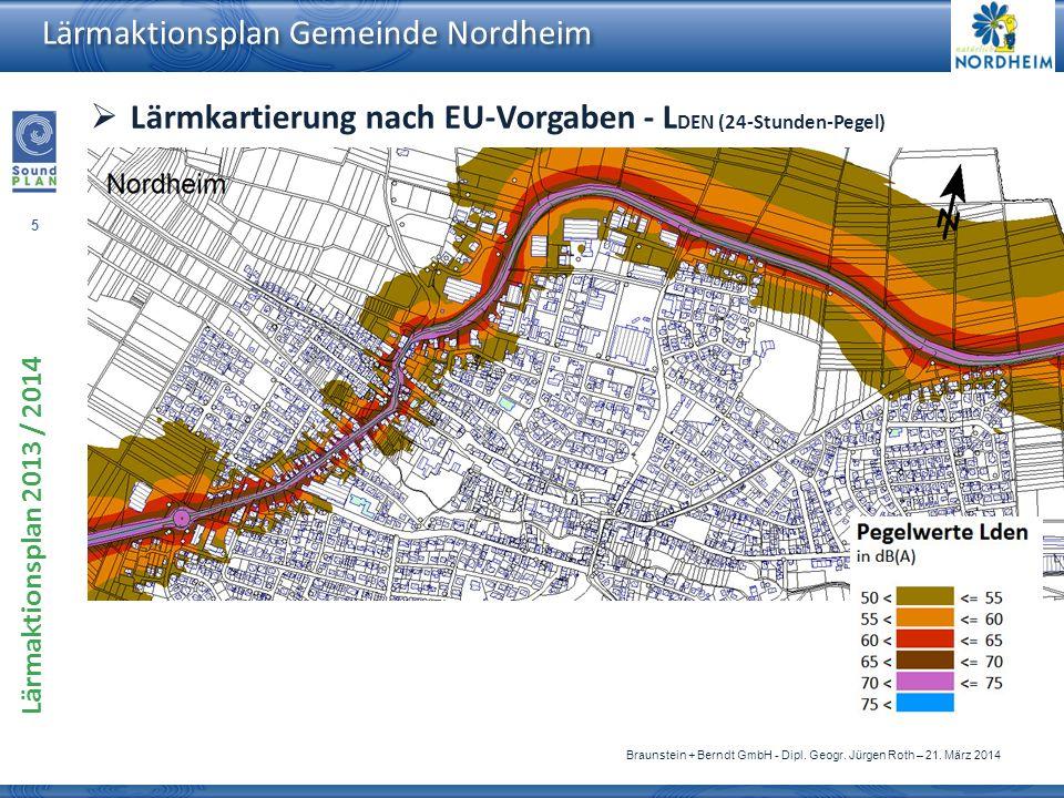Lärmkartierung nach EU-Vorgaben - LDEN (24-Stunden-Pegel)