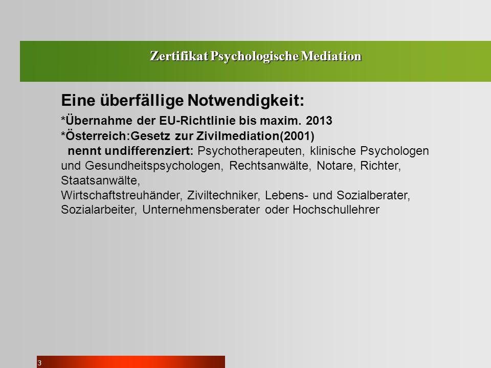 Zertifikat Psychologische Mediation