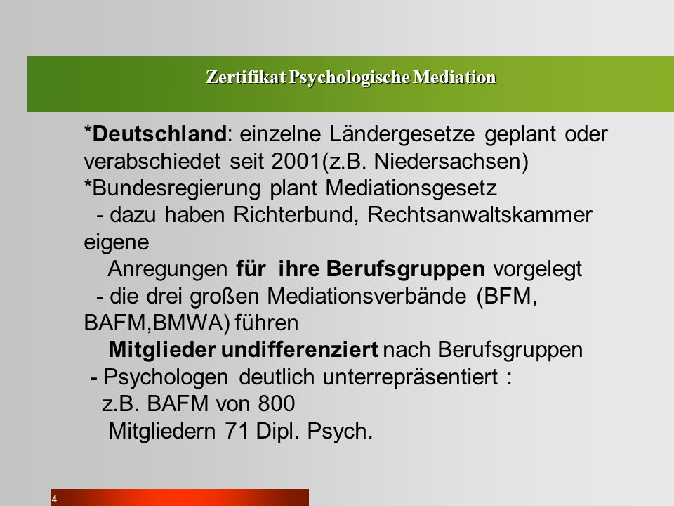 Zertifikat Psychologische Mediation