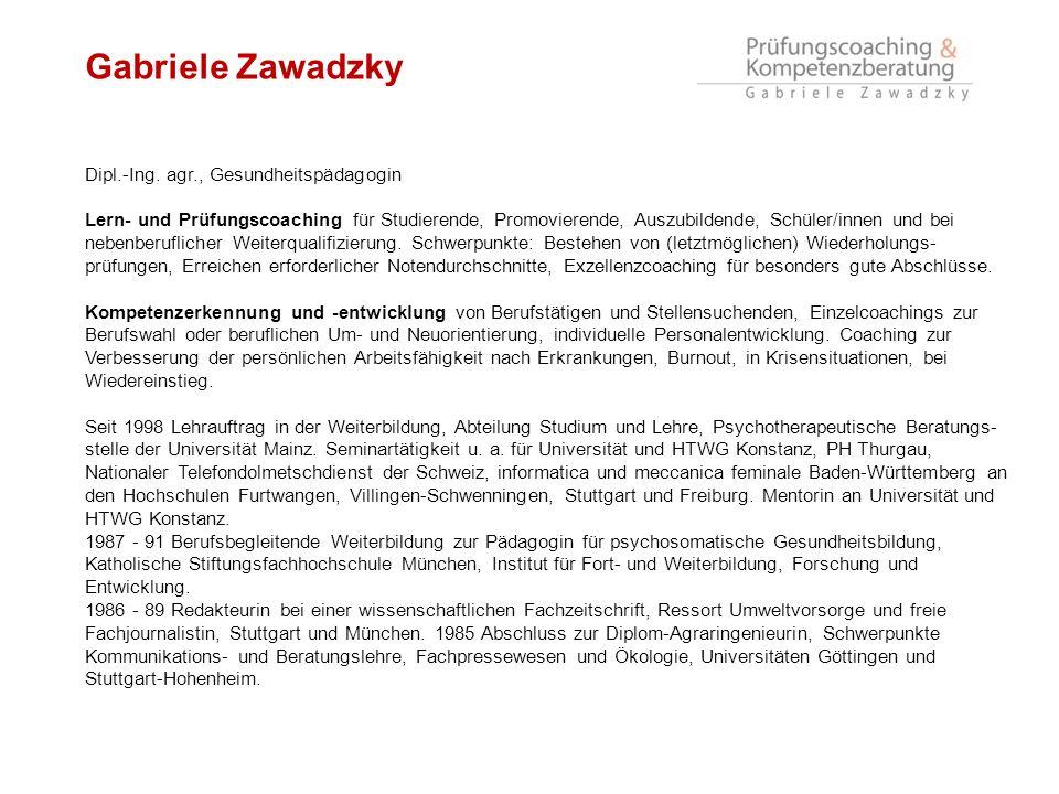 Gabriele Zawadzky Dipl.-Ing. agr., Gesundheitspädagogin