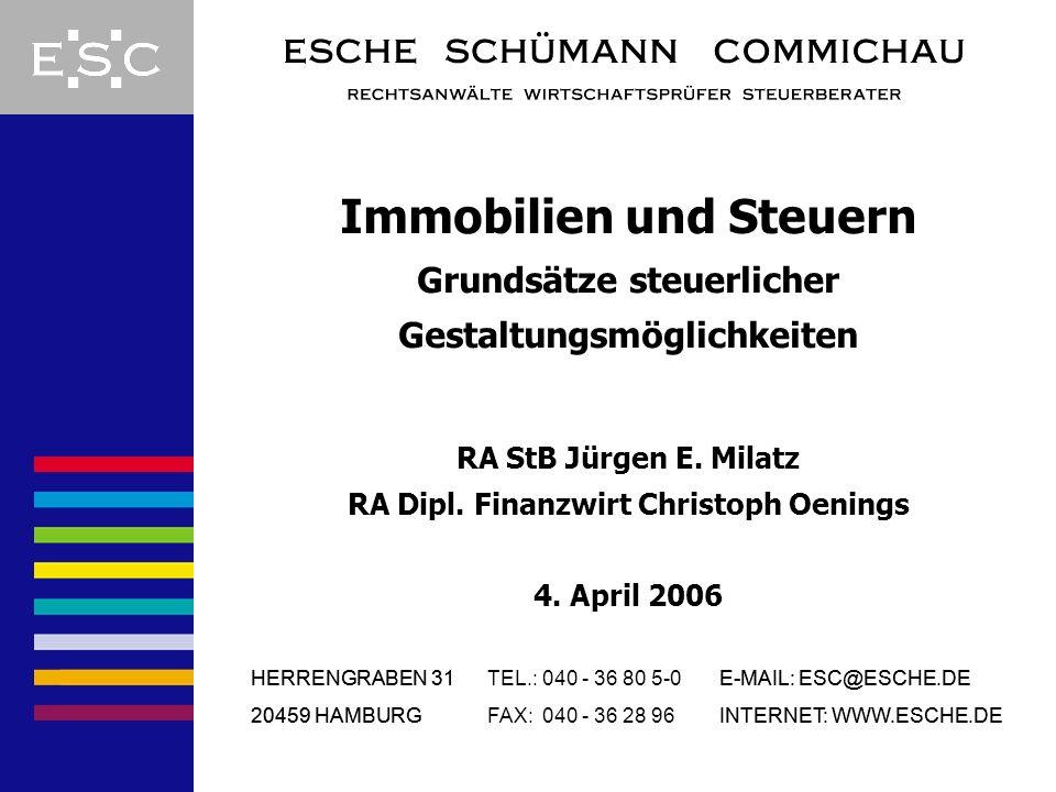 Immobilien und Steuern Grundsätze steuerlicher Gestaltungsmöglichkeiten RA StB Jürgen E. Milatz RA Dipl. Finanzwirt Christoph Oenings 4. April 2006