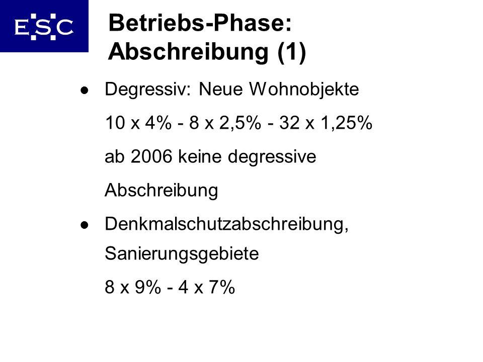 Betriebs-Phase: Abschreibung (1)