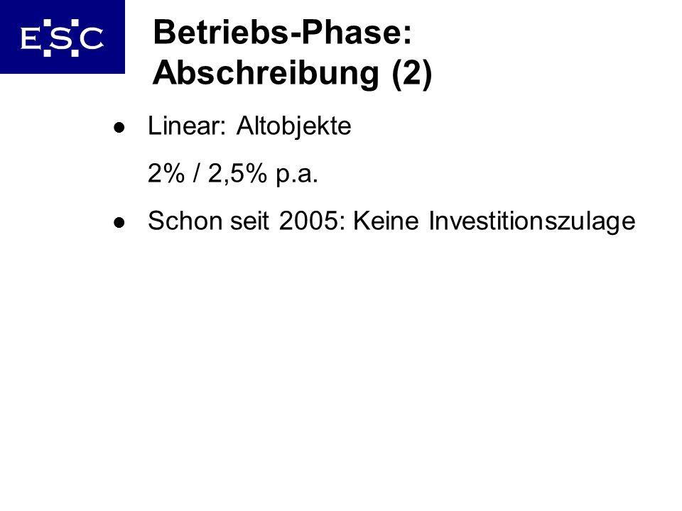 Betriebs-Phase: Abschreibung (2)
