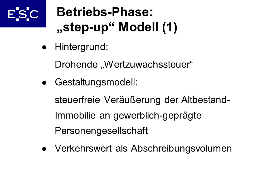 "Betriebs-Phase: ""step-up Modell (1)"