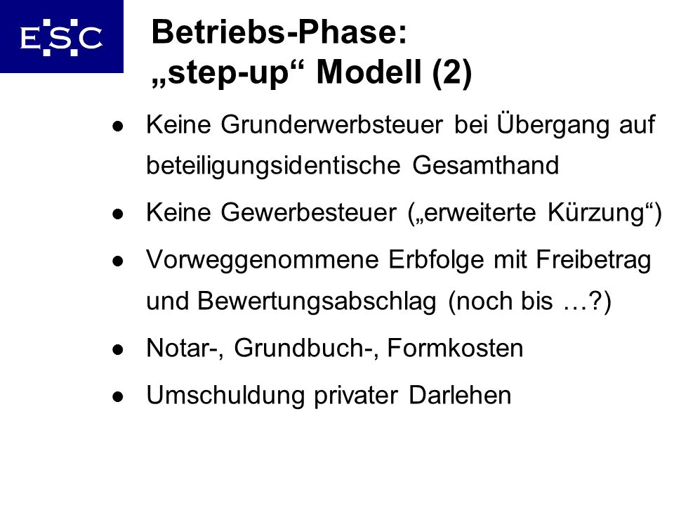 "Betriebs-Phase: ""step-up Modell (2)"