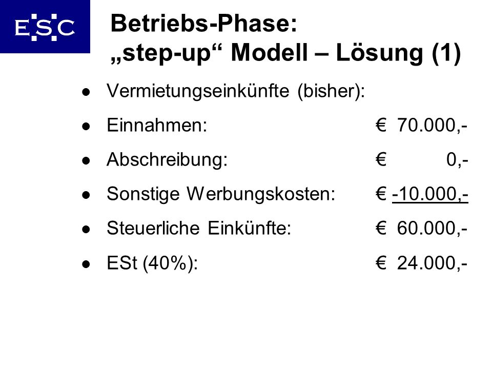 "Betriebs-Phase: ""step-up Modell – Lösung (1)"