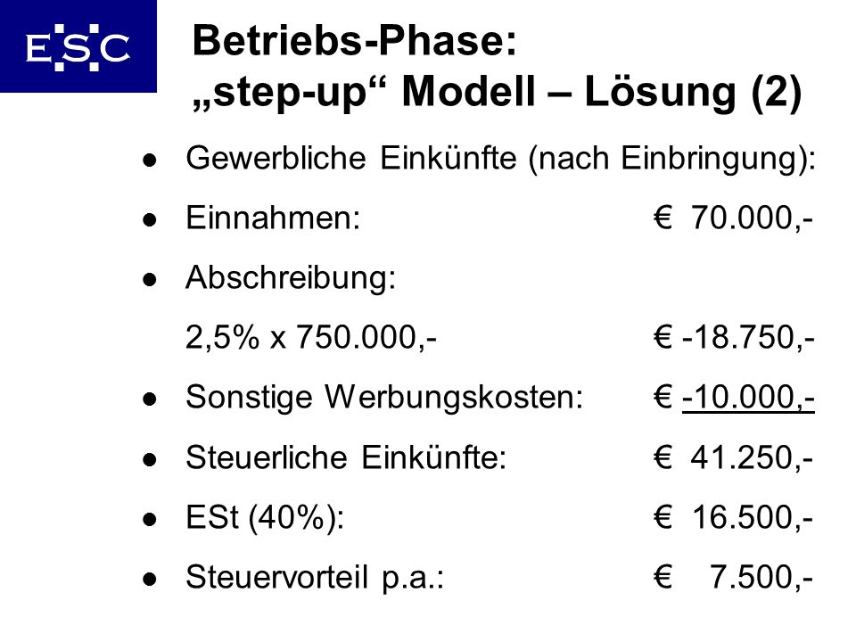 "Betriebs-Phase: ""step-up Modell – Lösung (2)"
