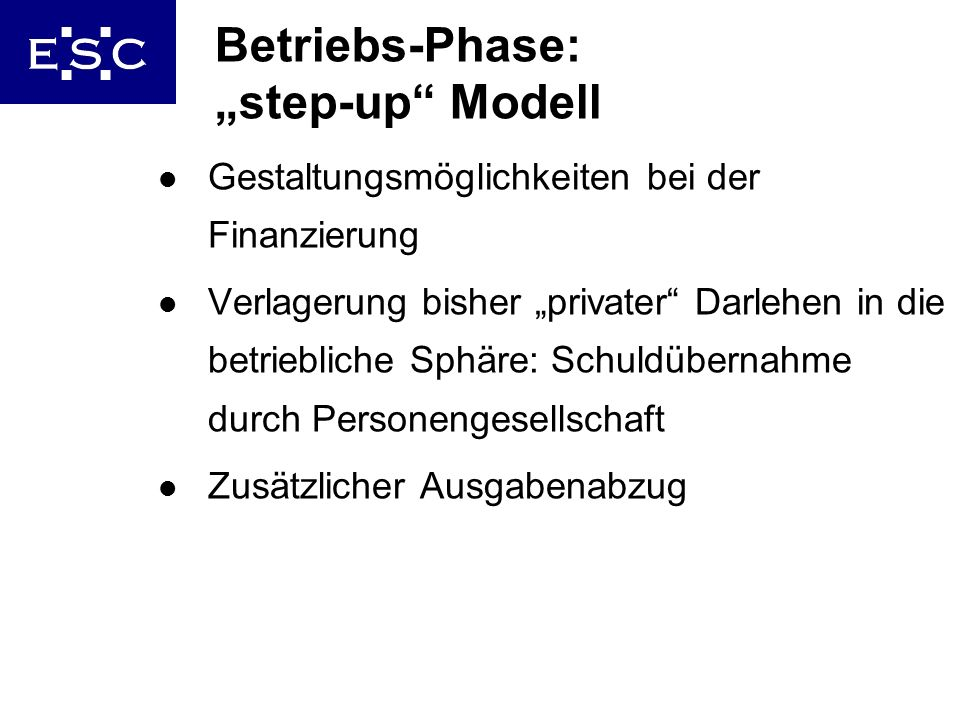 "Betriebs-Phase: ""step-up Modell"