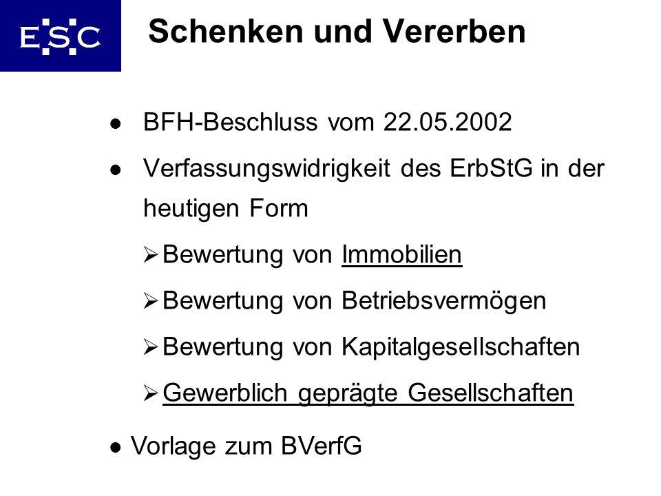 Schenken und Vererben BFH-Beschluss vom 22.05.2002