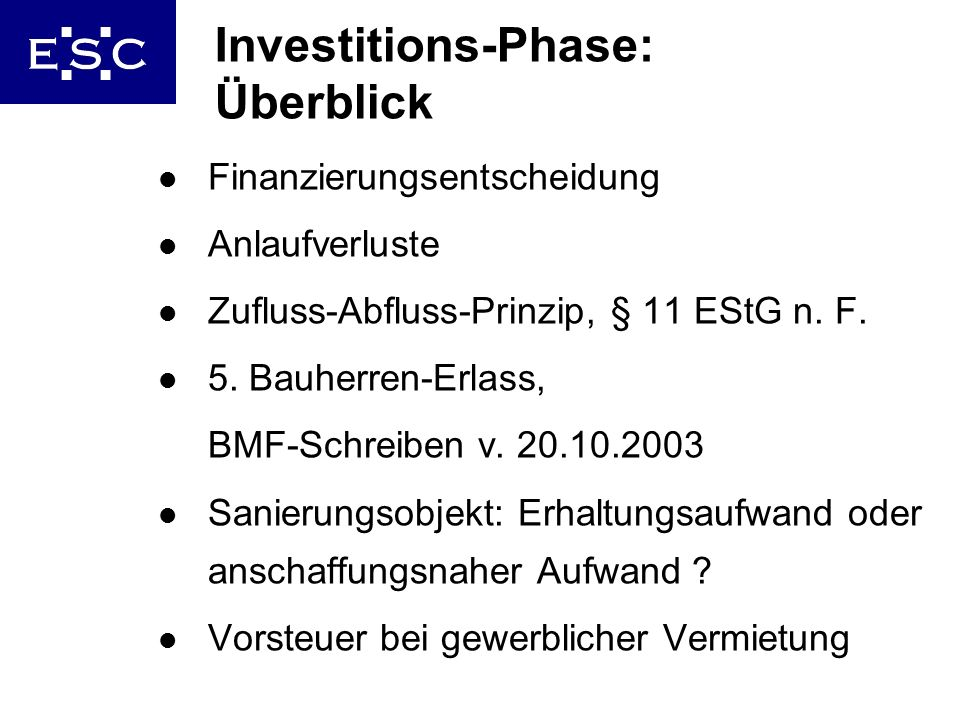 Investitions-Phase: Überblick