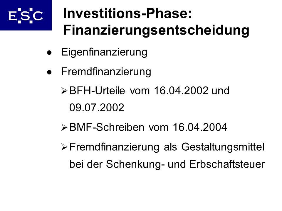 Investitions-Phase: Finanzierungsentscheidung