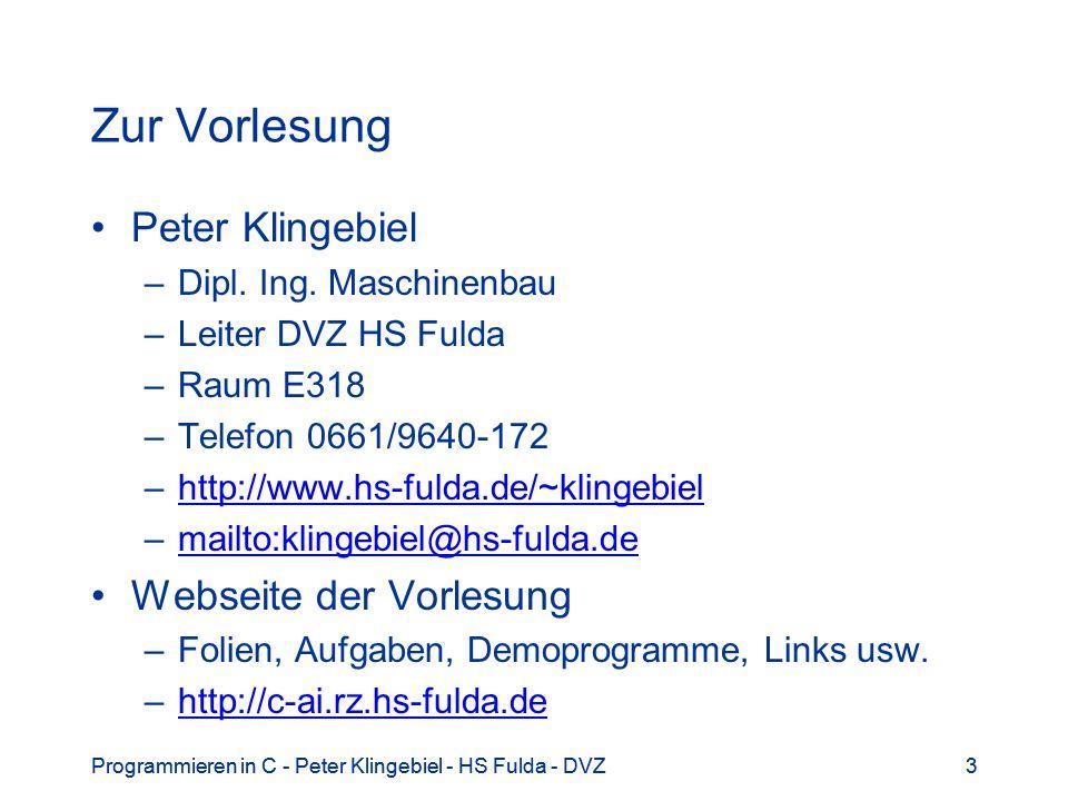 Zur Vorlesung Peter Klingebiel Webseite der Vorlesung