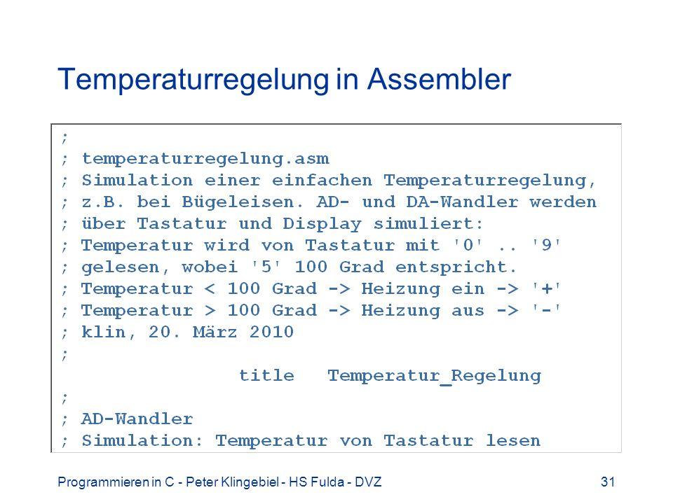 Temperaturregelung in Assembler