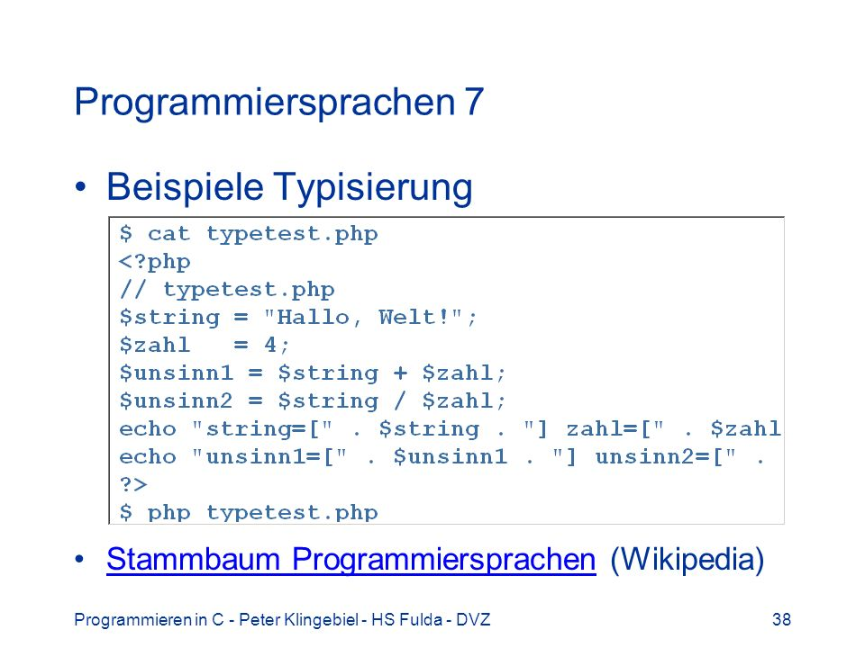 Beispiele Typisierung