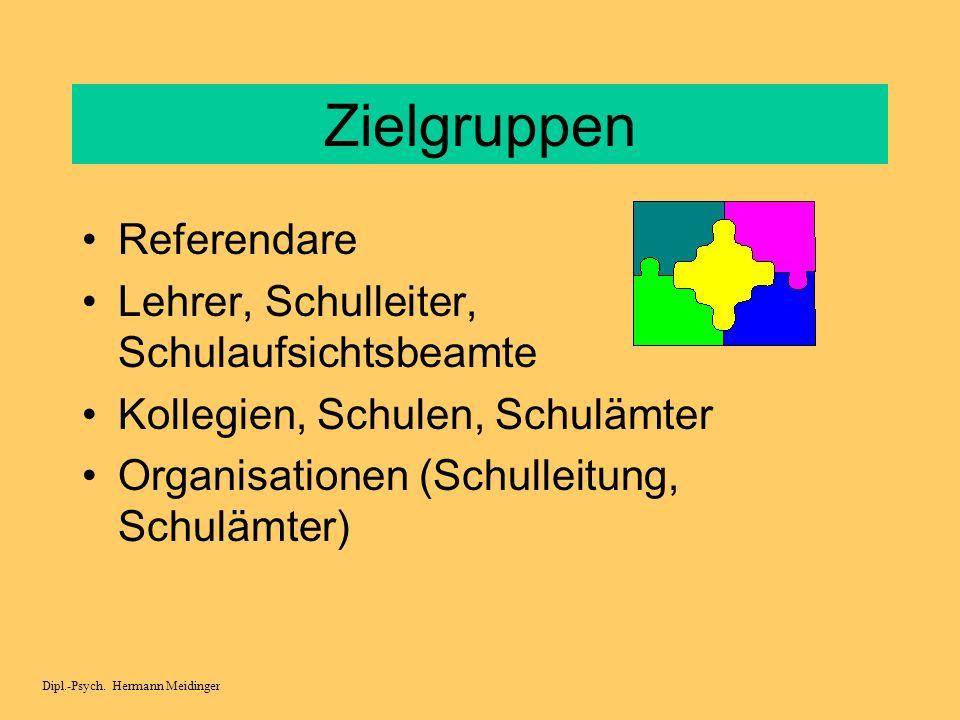 Zielgruppen Referendare Lehrer, Schulleiter, Schulaufsichtsbeamte