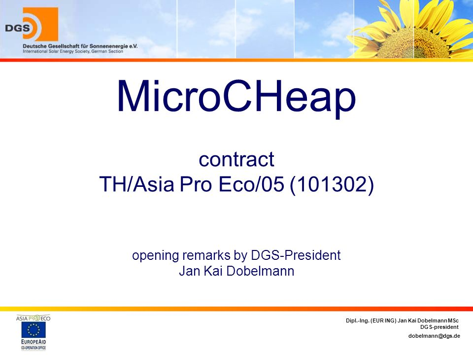 MicroCHeap contract TH/Asia Pro Eco/05 (101302) opening remarks by DGS-President Jan Kai Dobelmann