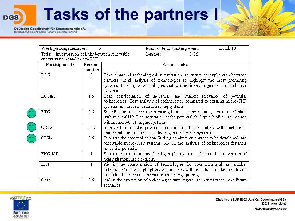Tasks of the partners I