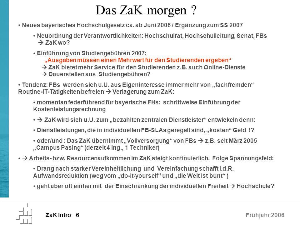 Das ZaK morgen Neues bayerisches Hochschulgesetz ca. ab Juni 2006 / Ergänzung zum SS 2007.