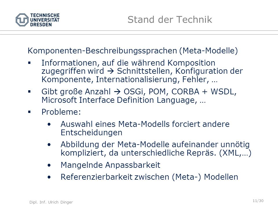 Stand der Technik Komponenten-Beschreibungssprachen (Meta-Modelle)