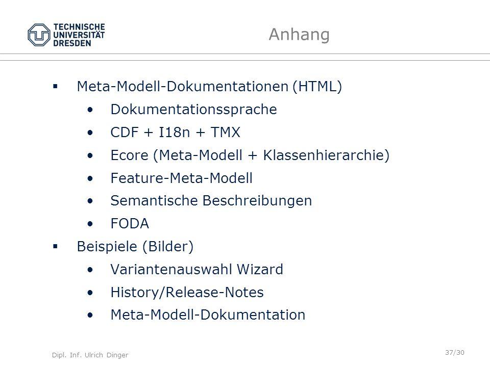 Anhang Meta-Modell-Dokumentationen (HTML) Dokumentationssprache