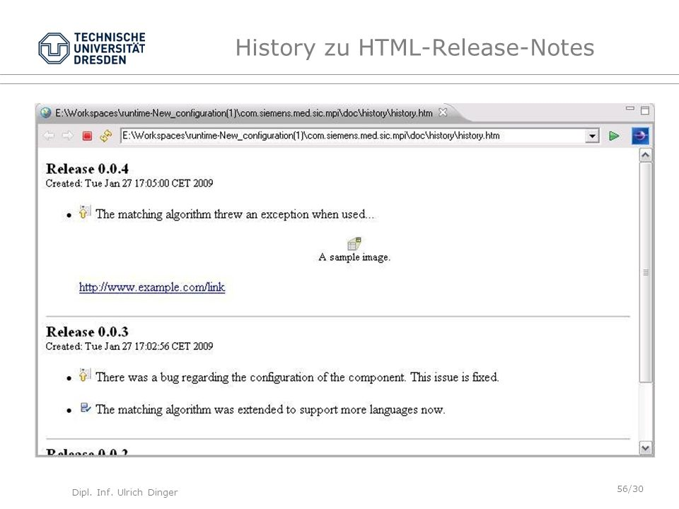 History zu HTML-Release-Notes