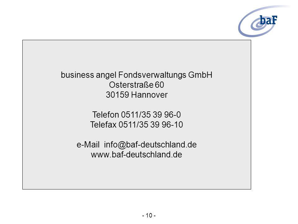 business angel Fondsverwaltungs GmbH Osterstraße 60 30159 Hannover