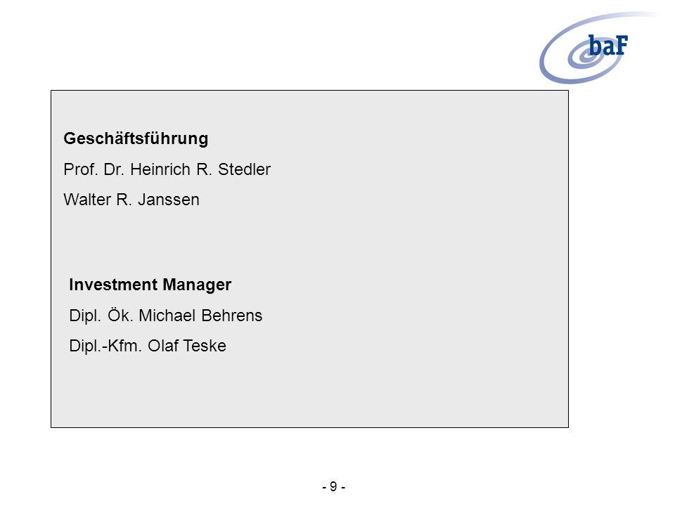 Prof. Dr. Heinrich R. Stedler Walter R. Janssen