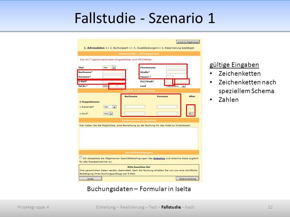 Fallstudie - Szenario 1 gültige Eingaben Zeichenketten
