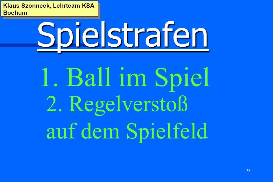 Spielstrafen 1. Ball im Spiel 2. Regelverstoß auf dem Spielfeld