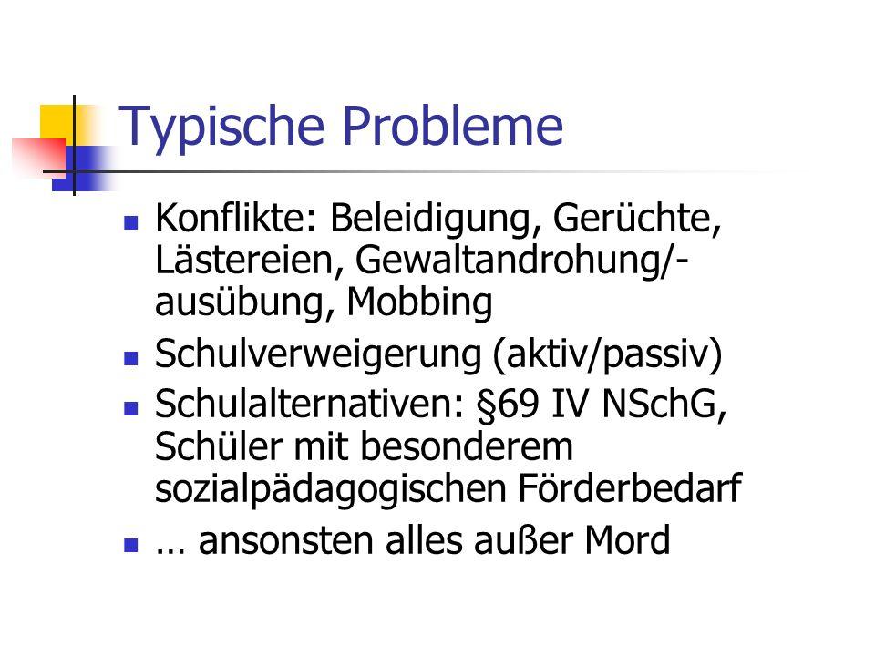 Typische Probleme Konflikte: Beleidigung, Gerüchte, Lästereien, Gewaltandrohung/-ausübung, Mobbing.