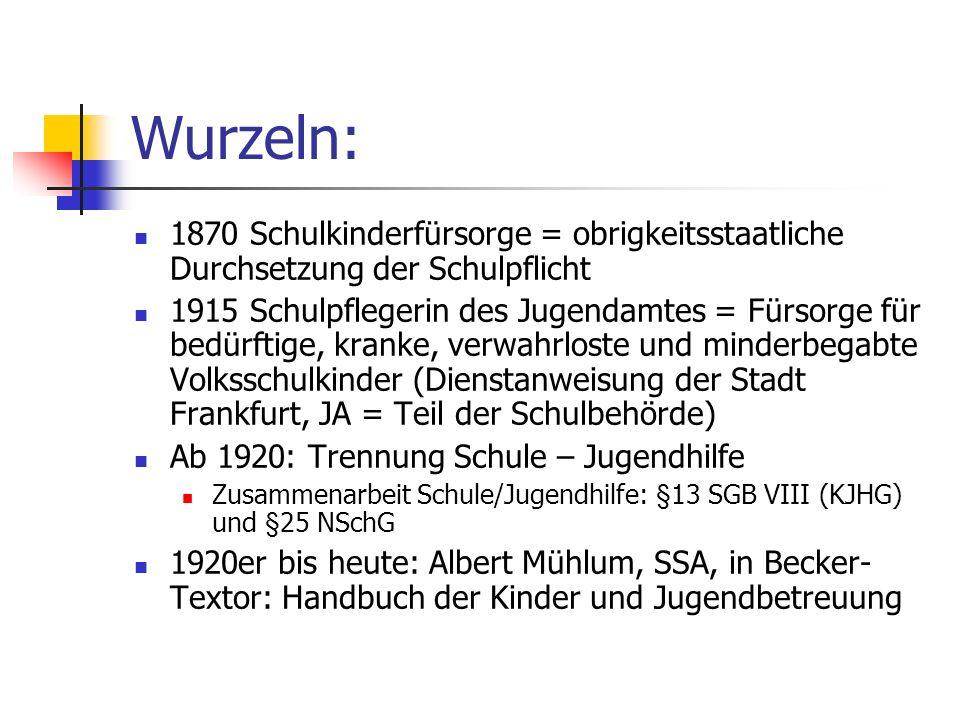 Wurzeln: 1870 Schulkinderfürsorge = obrigkeitsstaatliche Durchsetzung der Schulpflicht.