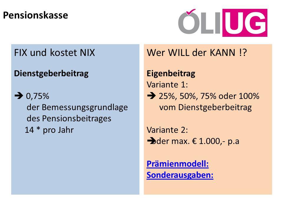 Pensionskasse FIX und kostet NIX Wer WILL der KANN !